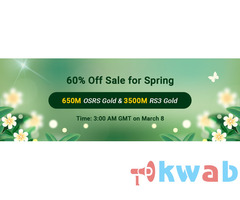 Join in RSorder Spring 60% Off Sale to Take 60% Off 2007 Runescape Gold on Mar. 8